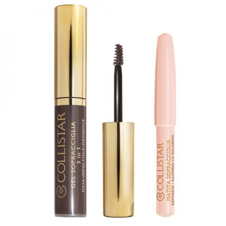 COLLISTAR_Perfect Eyebrow Gel koloryzujący żel do brwi 3 Bruno Silvana + Brightening Eyebrow Pencil kredka do brwi